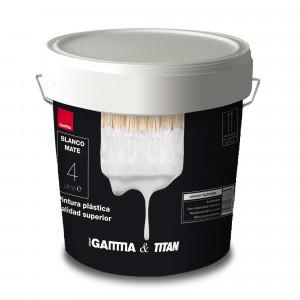 Bote pintura plastica blanco Gamma-titan exterior-fachadas 4 litros