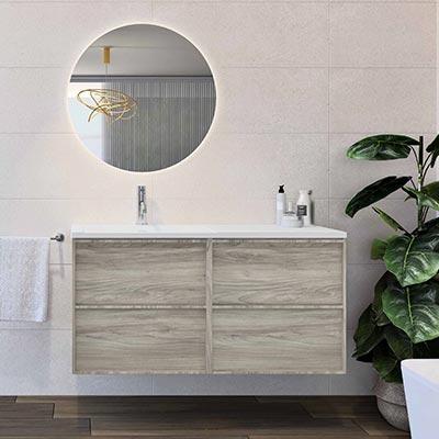 Conjunto FRAME pino gris suspendido 80 cm con lavabo y espejo
