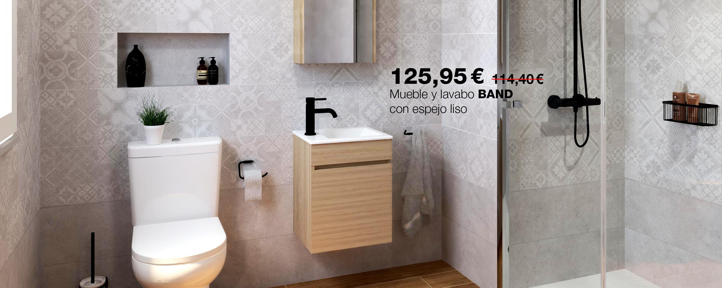 Conjunto de mueble, lavabo BAND con espejo