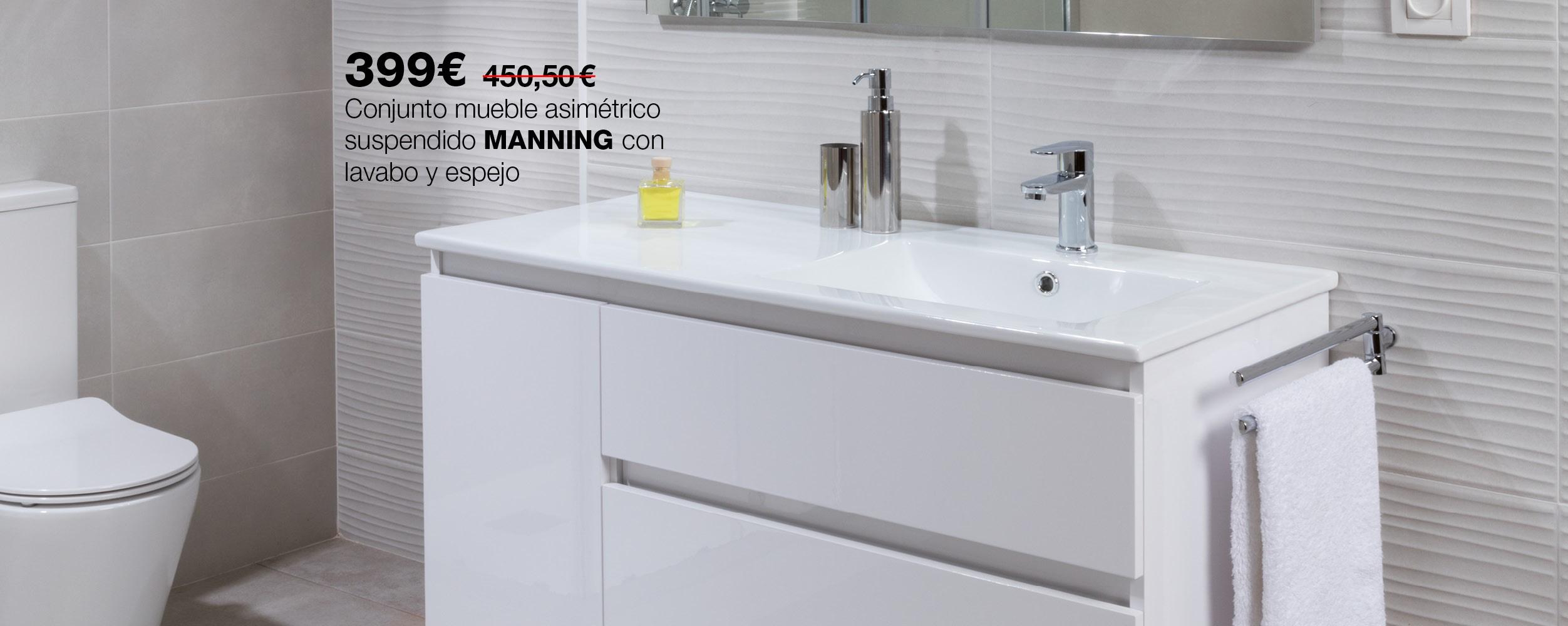 Conjunto de mueble suspendido MANNING con lavabo y espejo
